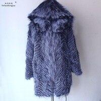Linhaoshengyue冬銀キツネの毛皮のコート用女性高貴で豪華な毛