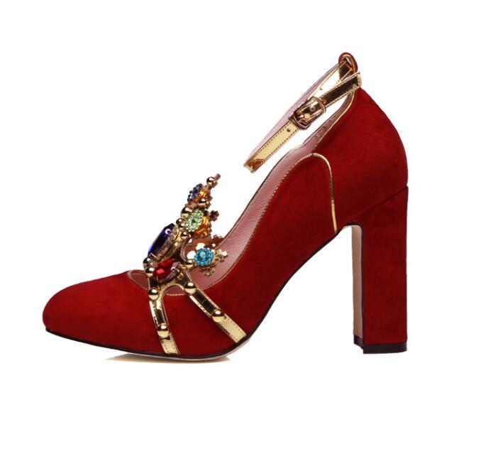 Frauen Mary Picture Runde Heels Metall Marke Schuhe Crown Kristall as Design Picture Weibliche High Hochzeit Kappe Pumpen As Janes Rhinstone Runway Luxus IAqZw
