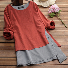 Contrast Cotton And Linen Striped Women Top Tee Fall Solid Button Feminina Tshirt Vintage Loose Shirt Plus Size D30