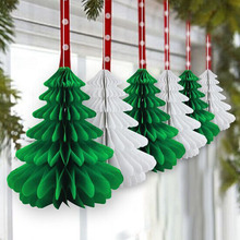 20pcs 25cm Christmas Trees Tissue Paper Honeycomb Decoration Hanging Festival Decorative Supplies Tree