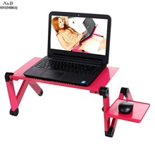 Homdox Notebook Desk 360 Degree Adjustable Foldable Mobile Laptop Desk Table Stand With Mouse Board Rose Red N20A