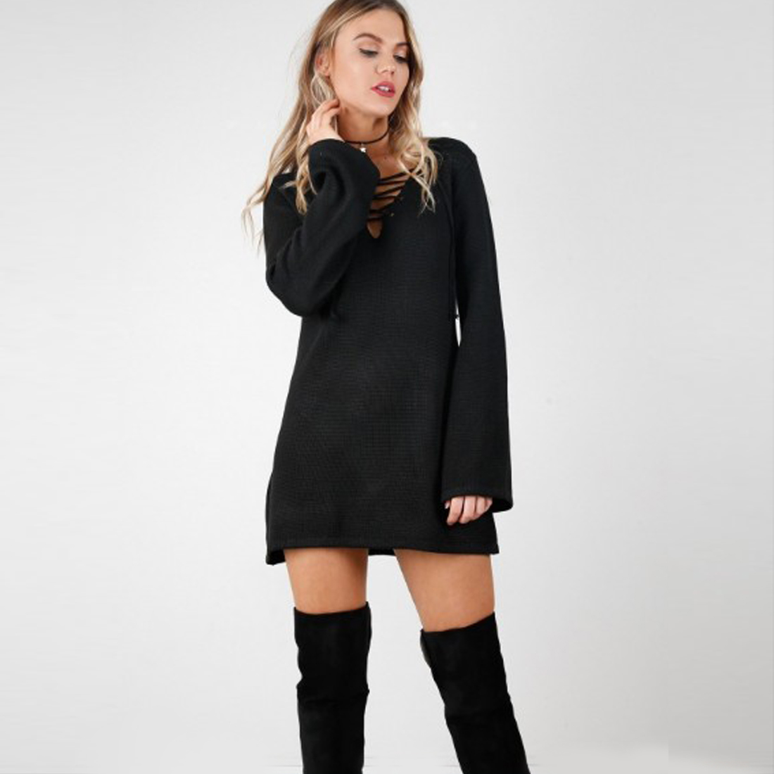 Fashion Khaki Long Sleeve Lace Up Knitted Dress Long Bottoming Shirt Black Casual Loose Mini Sweater Dress Pullover for Women