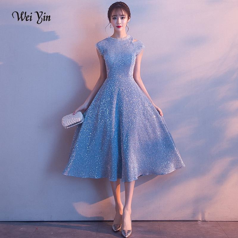 weiyin Boat Neck Tea-length Blue   Evening     Dress   2019 New Sleeveless Formal Prom Gowns Bestido de festa Abiye   Evening   Gown WY1562