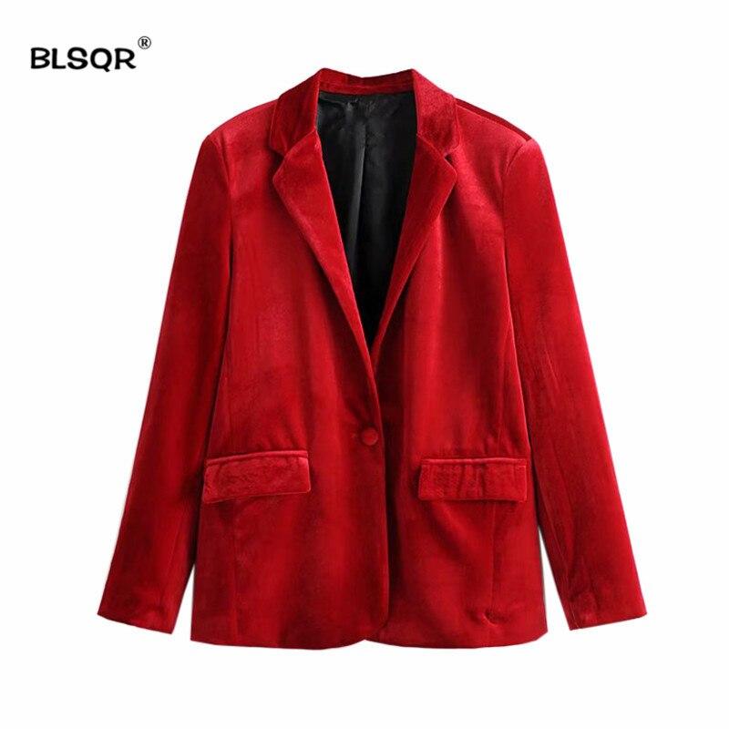 100% Wahr 2018 Mode Samt Rot Blazer Jacke Frauen Blazer Herbst Warme Damen Blazer Mantel Eine Taste Drehen-unten Kragen Outwears SpäTester Style-Online-Verkauf Von 2019 50%