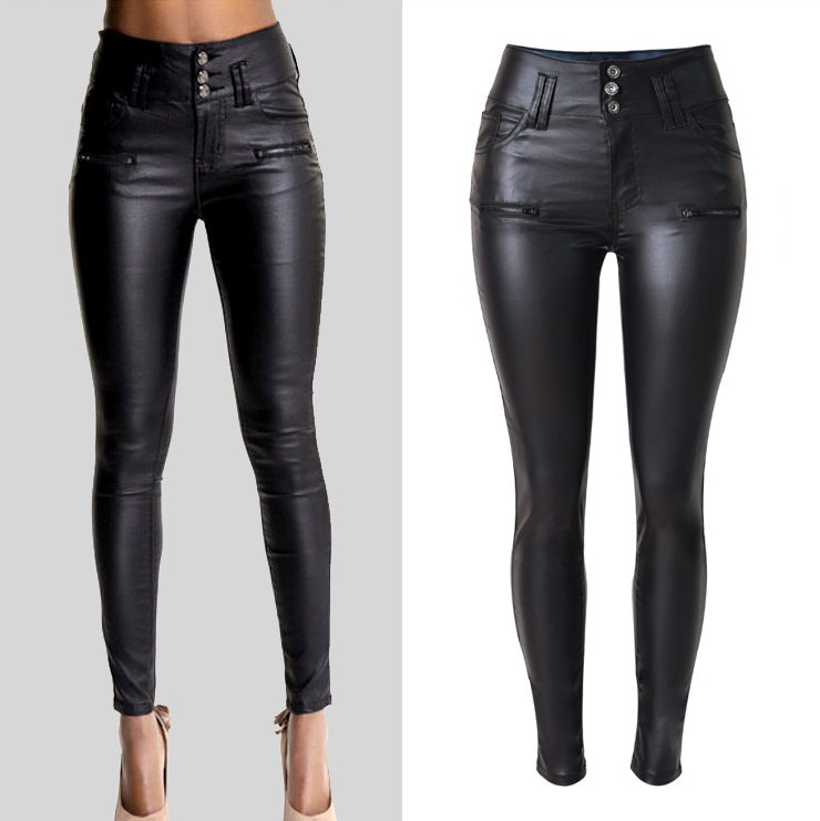 HTB1dTuaKXXXXXckXFXXq6xXFXXXF - Black Leather Pants Skinny High Waist Jeans women PTC 47