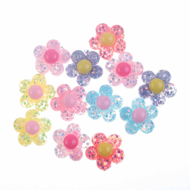 50Pcs Clear Colorful Bling Resin Flowers Decoration Crafts Flatback Cabochon Embellishments For Scrapbooking Diy Accessories