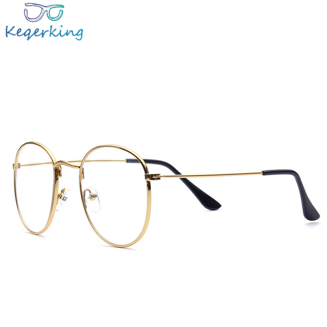 9beb791a8f2 Fashion Retro Men Women Frame Vintage Mens Womens Clear Lens Glasses Brand  Eyeglasses Gold Shield Frame