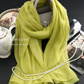 Genuine Silk Women Scarf 2016 Summer Autumn Winter High Quality Shawl 200 * 65 cm Fashion Scholar Green Color Scarves