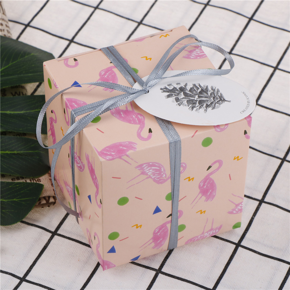 2 Pcs/lot 9*9*9cm Flower Bird Flamingo Square Gift Box Candy Box ...