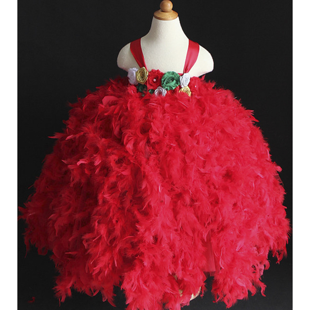 Vintage Feather Girls Dresses Gold Green Flower Teenager 10 12 Christmas Tutu Red Green and White Gold Silver Tutu Feather PT125