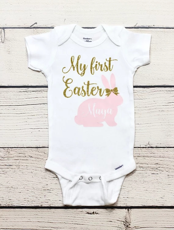 3fece731a8ab Detail Feedback Questions about csutomize name glitter My first Easter  bunny baby shower take home outfit bodysuit onepiece romper kids t shirts  birthday ...