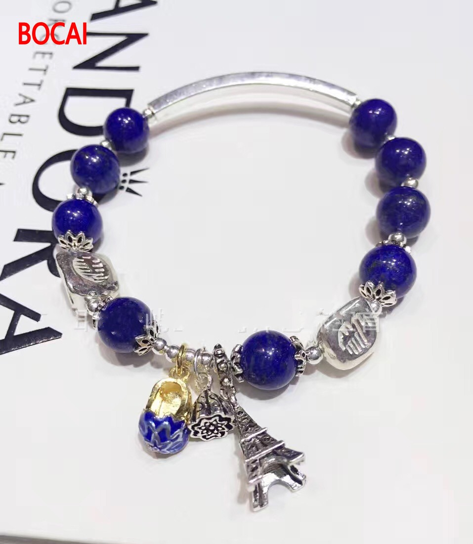 silver tea-coloured crystal bracelet bracelet Lapis bracelet Manual accessories Cloisonne bracelet lowell настенные часы lowell 11296 коллекция часы картины