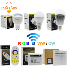 Mi Light RGBW LED Bulb AC86-265V GU10 5W / E27 6W 9W RGBWW / RGBCW Remote Control Smart Lighting(China)