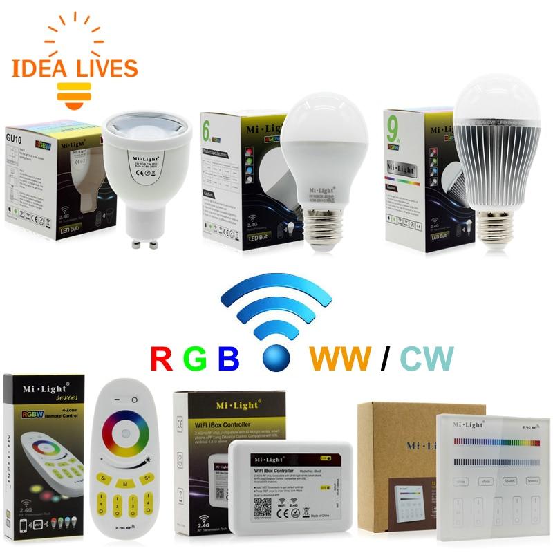Mi Light RGBW LED Bulb AC86-265V GU10 5W / E27 6W 9W RGBWW / RGBCW Remote Control Smart Lighting keyshare dual bulb night vision led light kit for remote control drones