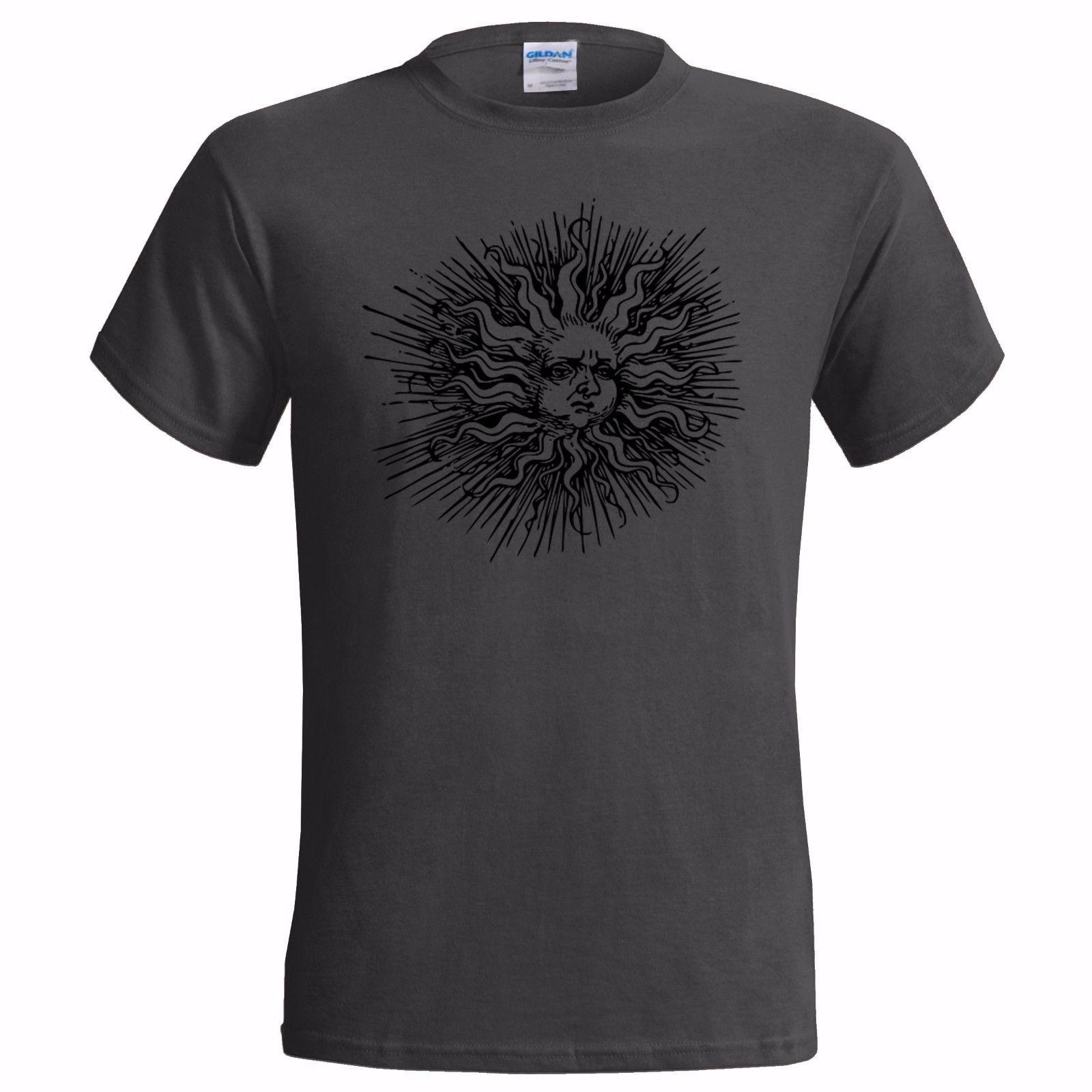 SUMMER SOLSTICE ART MENS T SHIRT PAGAN HIPPY URBAN DRUID EQUINOX WICCA RELIGION Summer Short Sleeves Cotton T-Shirt Black Style