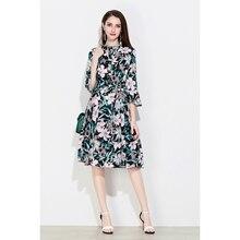 83f0db29399 SNOWINSPRING Marina Kaneva Spring Summer Women Floral Print Style 3 4  Sleeve Dresses