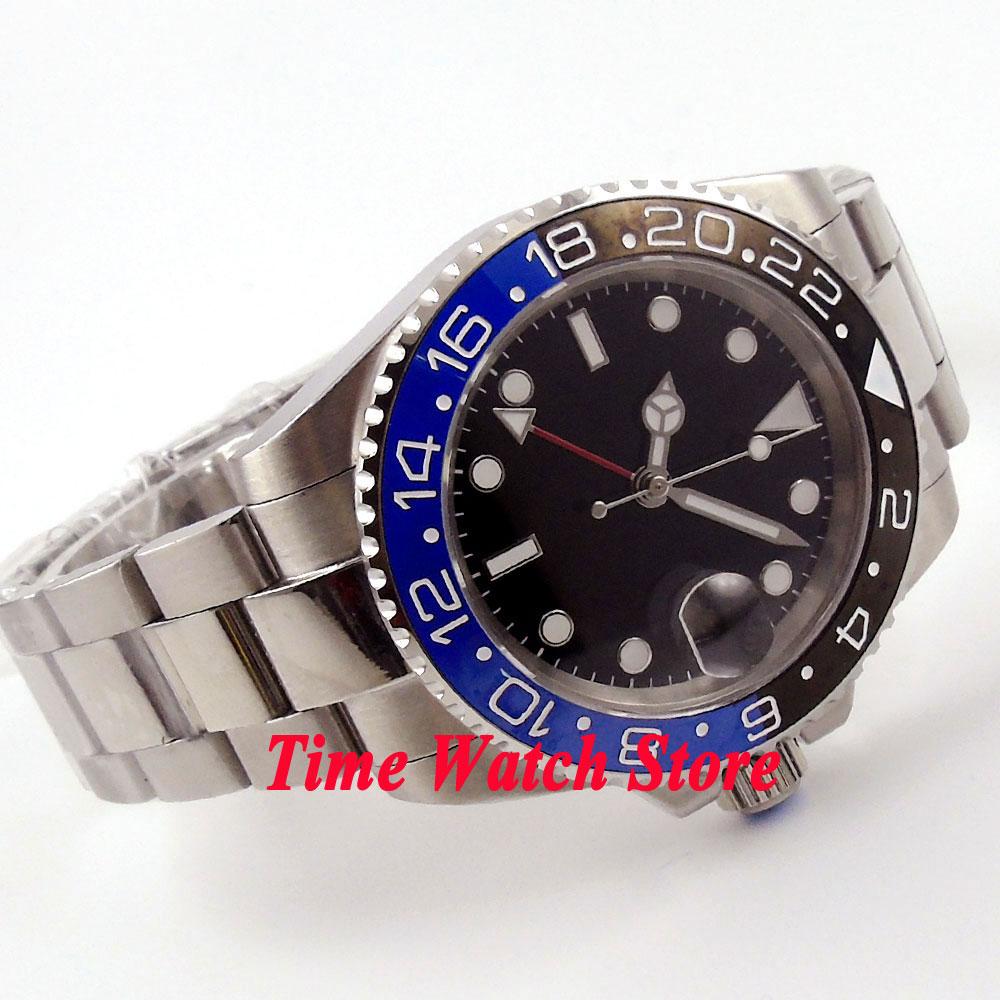 Parnis 40mm black dial black&blue ceramic bezel GMT sapphire glass Automatic men's watch wristwatch 457 все цены