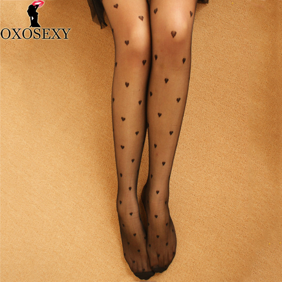 black white love heart Autumn retro sexy pantyhose Mesh women japanese tights stocking fishnet stockings thin party hosiery 049