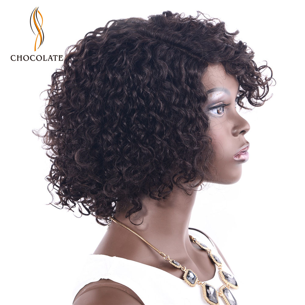 CHOCOLATE Lace Curly Human Hair Wigs Full Ends Remy Malaysian Hair Wigs With Baby Hair Full For Women Black 8inches Side Part