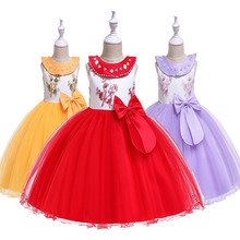 2019 Big Bow Beading Princess Dress for Girls Wedding Party Floral Summer Kids Dresses for Girls Party Tutu Dress 3-12 Years stylish floral big bow girls dress