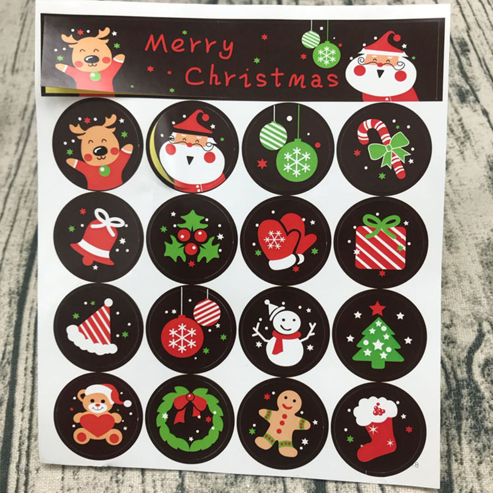160pcs/10 Sheets DIY Scrapbooking Merry Christmas Gift Kraft Sticker Cookie/Cake/Gift Labels Stickers Kitchen Sweets Party Seal