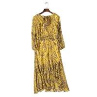 Elegant Brand Women Natural Silk Lady Dress Chinese Gown Woman Mid Calf Length Cheongsam Female Spring Summer Women Dresses XL