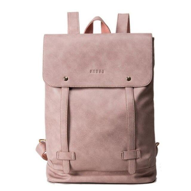 Simples moda soft PU de couro das mulheres mochila mochilas escolares para adolescente meninas cinto duplo estudantes bolsa para laptop mochila Mochila