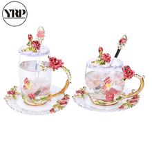 YRP Enamel Cup Set of Heat-resistant Glass Covered Creative Mini Scented Red Rose Coffee