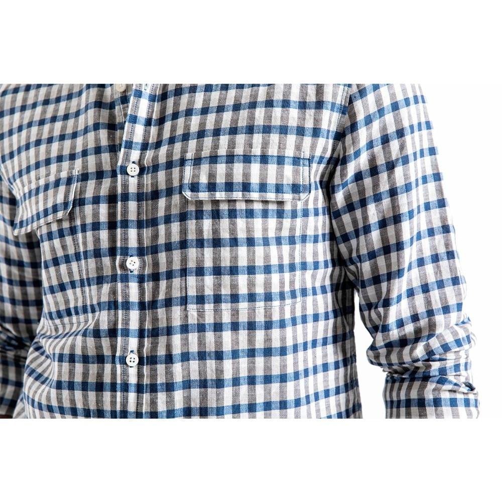 SIMWOOD Casual Shirt Men Brand Linen 2019 autumn Fashion Streetwear Long Sleeve Plaid Shirts Male Camisa Masculina 190174