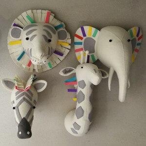 Животное Жираф, слон, фламинго, голова, настенное крепление, мягкие плюшевые игрушки, украшение для спальни, войлочное искусство, настенные ...