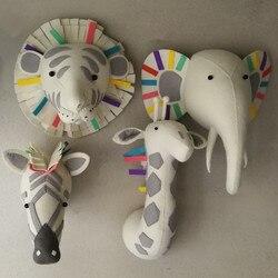 Animal girafe éléphant flamant rose tête montage mural en peluche jouets chambre décoration feutre illustration mur poupées accessoires Photo