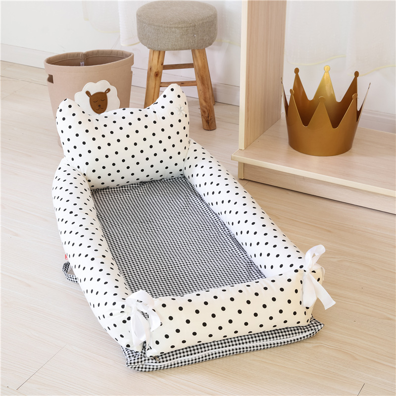 Portable Baby Nest Folding Baby Bed Cotton Travel Baby Crib Cartoon Cot In Crib For Newborns Multicolor Cot Length 90cm pure cotton baby nest bed cradle cot travel crib for newborns portable baby crib sets with pillow washable