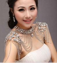 Calssic Super Luxury Queen Crystal Wedding Jewelry Shoulder Strap Bridal Necklace pretty women Red /silver  недорого