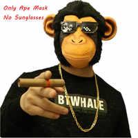 Divertente Testa di Scimmia Maschera Pieno Viso Adulto Scimmie Realistico Maschera Traspirante di Travestimento di Halloween del Vestito Operato del Partito di Cosplay Puntelli