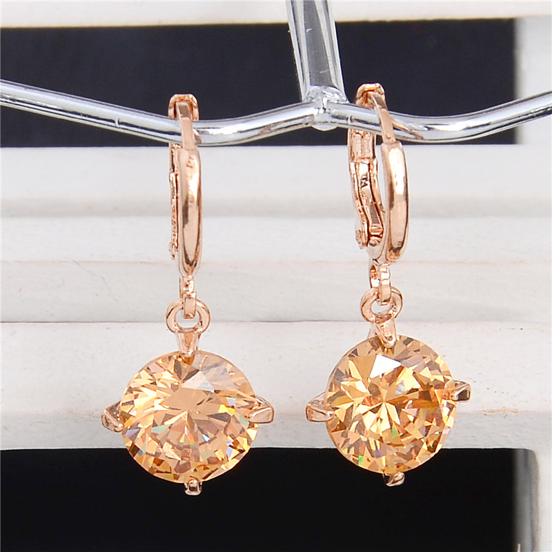 H:HYDE Fashion Gold Color Round Pretty Cubic Zirconia Womens Jewelry Attractive Dangle Earrings Many Colors Choose