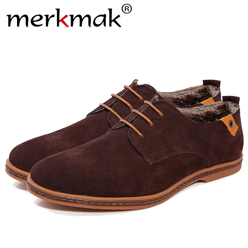 Merkmak Genuine   Leather   Men Business Wedding Shoes Fashion Men Flats Winter   Suede   Shoes Footwear Moccasin Loafer Formal Dropship