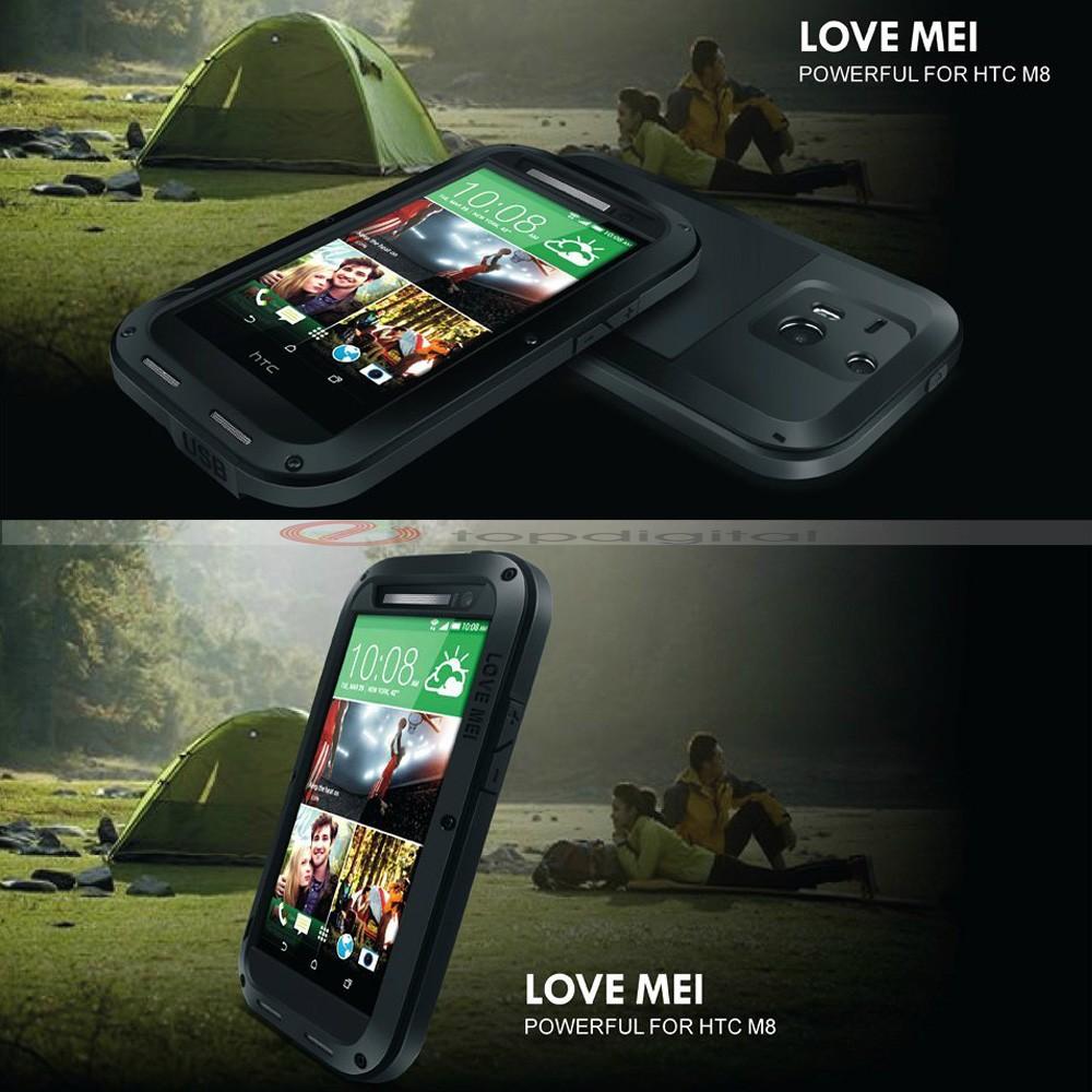 LOVE MEI Shockproof Dirtproof Waterproof Metal Case For HTC One 2 M8 (1)
