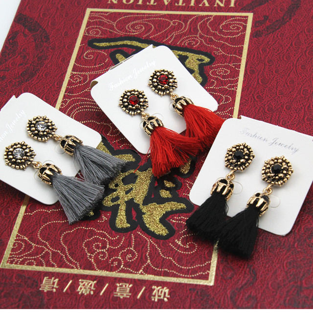 E0187 Vintage Crystal Earring Exquisite Handmade Red Black Gray Tassel Earring For Women Fashion Wedding Party Jewelry Wholesale 5