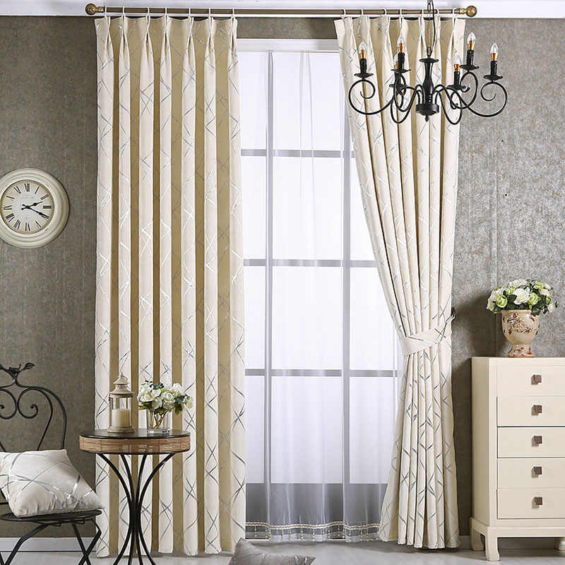 Hot selling Chenille Silver Jacquard Blackout Curtains for Living Room Hook  Curtain for Bedroom Window Blind American Drape