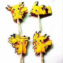 24PCS Cartoon Yellow Pokemon Cupcake Topper Picks Birthday Party Decorations Kid Evnent Favors wedding decoration Party Supplies(China)