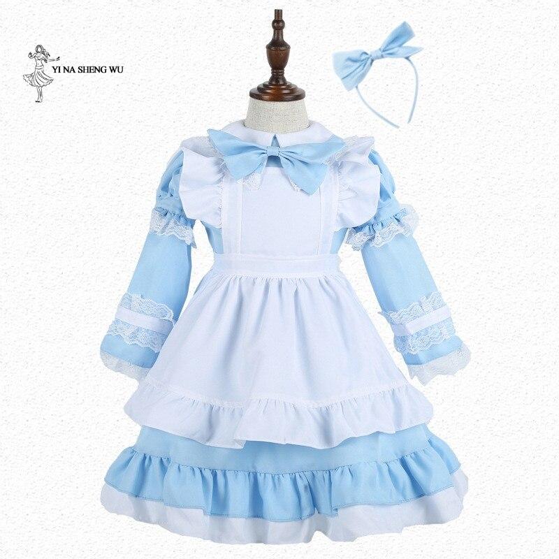 Alice no País Das Maravilhas Traje para a menina de Halloween Carnaval Cosplay Terno Traje Empregada Lolita Fantasia Vestido da senhora Anime Empregada Uniforme
