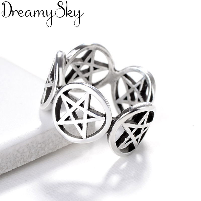 New Trendy Bohemian 925 Sterling Silver Star Rings For Women Girls Gift Vintage Large Engagement Ring Anillos Anelli