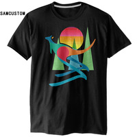 SAMCUSTOM Sunset Kangaroo 3D Personalized Print Casual Mens O-neck T-shirts Creative Fashion Tops Short Sleeve Tshirts