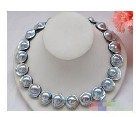 Élégant 22mm gris mer du sud mabe perle ronde mer du sud MABE collier de perles 18 pouces femmes cadeau word 925 bijoux en argent