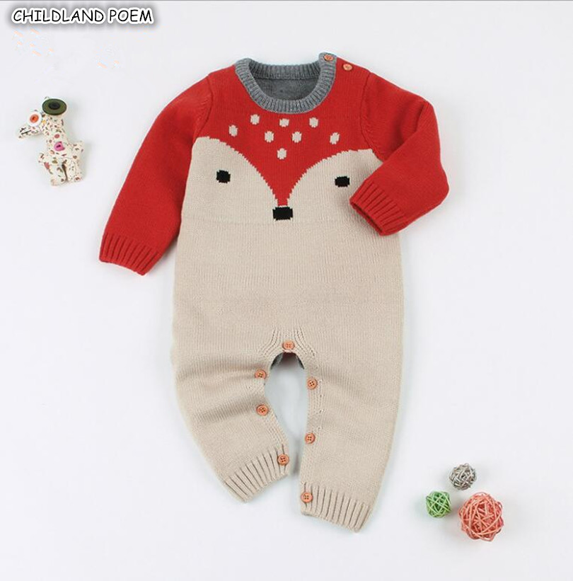 Knitted Baby Clothes Spring 2019 Newborn Baby   Rompers   Cotton Infant Baby Boy   Romper   Fox Print Long Sleeve Girls Boys Jumpsuit