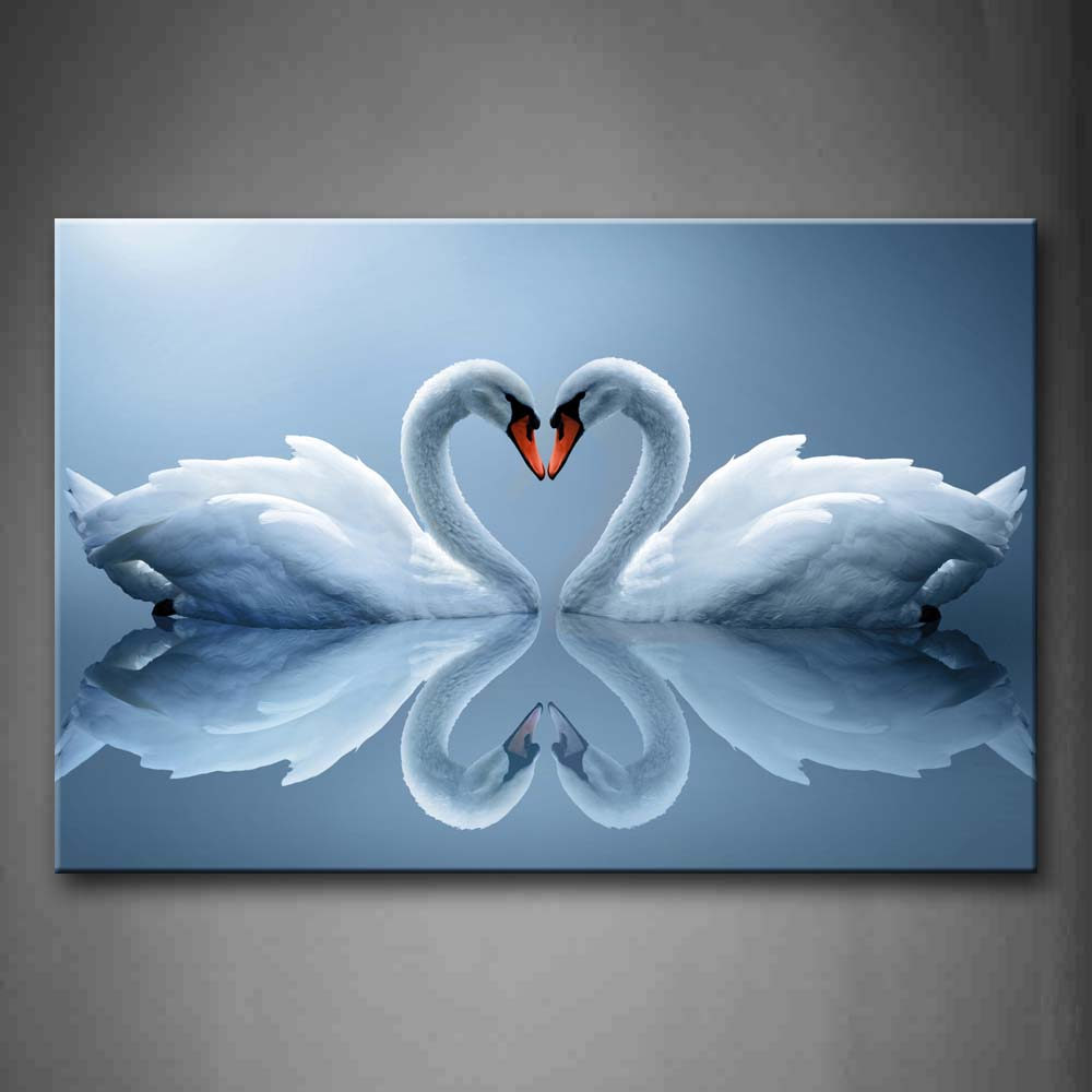 Framed Heart Water Swan Canvas Painting - Canvas Paintings Under $500