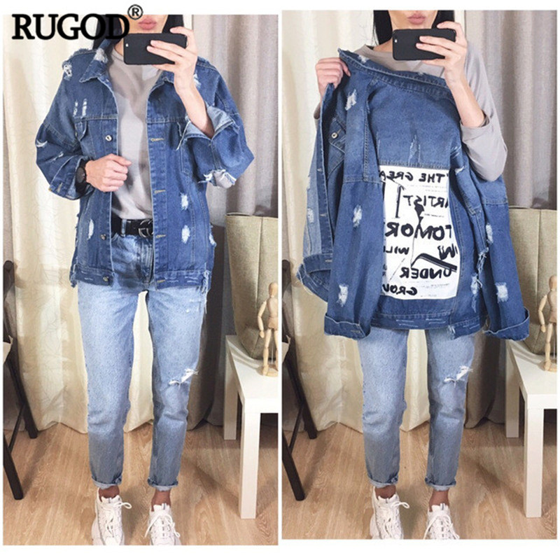 HTB1dTyLaRiE3KVjSZFMq6zQhVXa9 RUGOD Basic Coat Bombers Vintage Fabric Patchwork Denim Jacket Women Cowboy Jeans 2019 Autumn Frayed Ripped Hole Jean Jacket