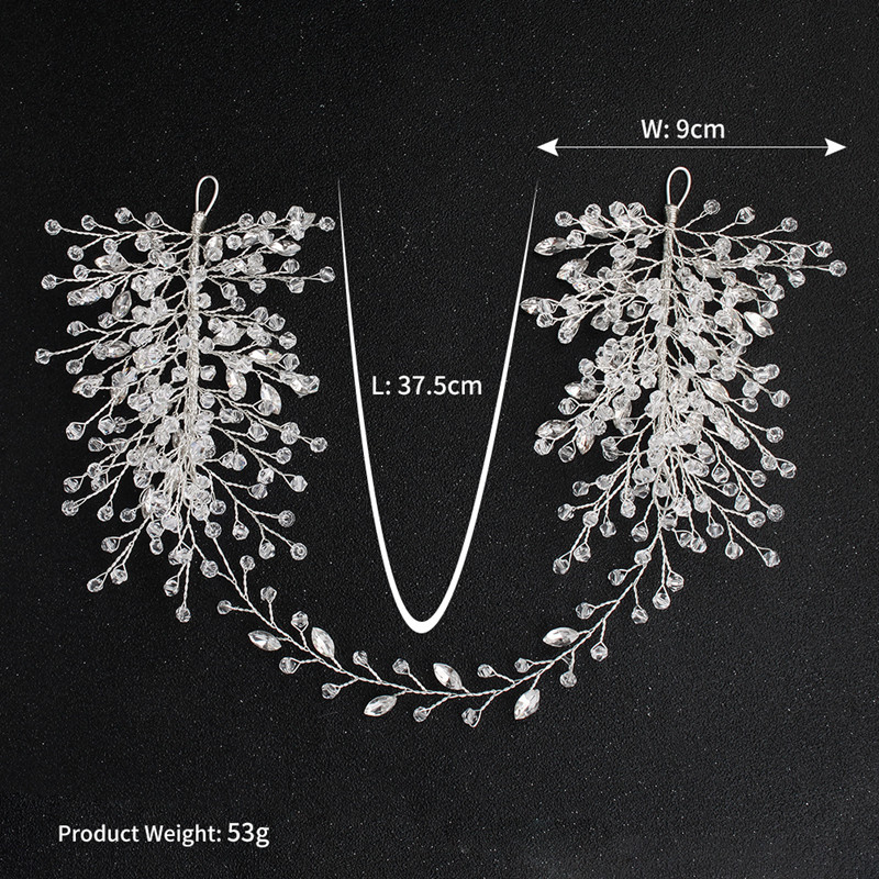 SLBRIDAL Silver Wired Clear Rhinestones Crystal Wedding Headband Bridal Hair Vine Hair Accessories Bridesmaids Women Jewelry in Hair Jewelry from Jewelry Accessories