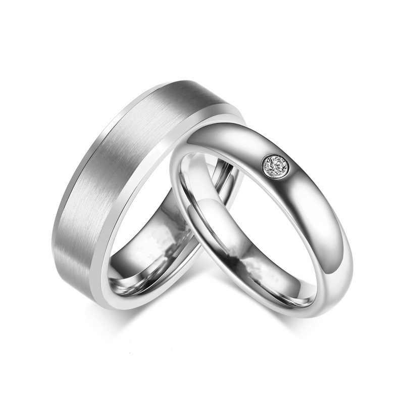 แหวนแฟชั่นแหวนสแตนเลสสำหรับสตรีและผู้ชายแหวน Cubic Zirconia คู่วันวาเลนไทน์ของขวัญเครื่องประดับ