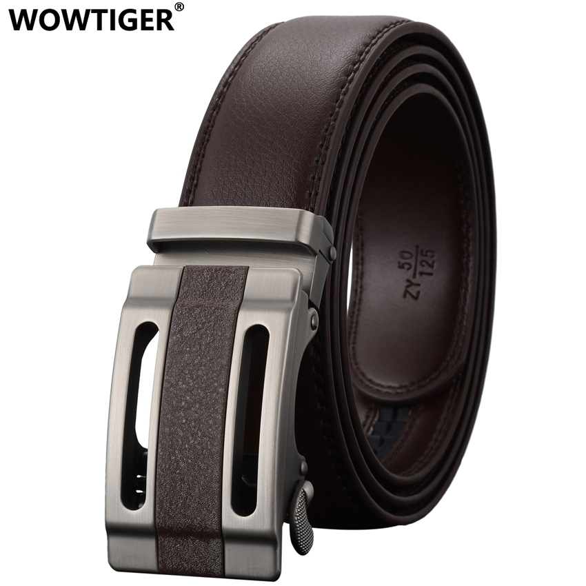 WOWTIGER Fashion Automatic Buckle Men Läder Jeans Luxury Belt Designers Högkvalitativ Alloy Buckle Brand Belts For Men